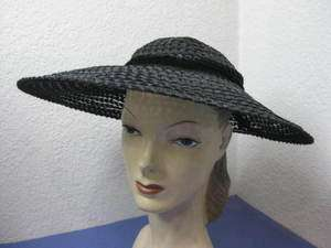Gorgeous 30s Vintage Black Sheer Straw Large Brim Hat