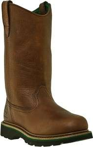John Deere Womens Western Cowboy Boots Brown Walnut Steel Toe JD3393