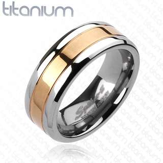 Solid titanium mens ring with Rose Gold IP Center wedding band