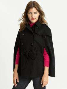 REPUBLIC HOLIDAY 2011 WOMENS BLACK WOOL BELTED CAPE COAT L