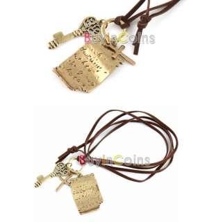 Retro Charm Shakespeare Love Letter Cross Key Necklace
