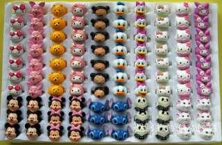 3D children ring random mixed lot 100pcs Hello Kitty Disney Cartoon