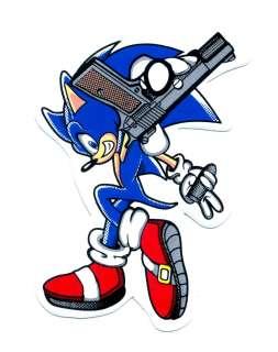 Sonic The Hedgehog pistol Gun Motorcycle Car Decal Sticker K100