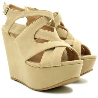 NEW WOMENS SUEDE STYLE WEDGE HIGH HEEL PLATFORM STRAPPY SHOES SANDALS