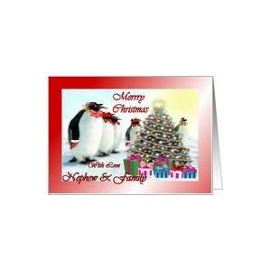 ~ Nephew & Family ~ Whimsical Penguins / Christmas Tree / Gifts Card