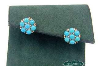 Marvelous 14k Rose Gold Turquoise Designer Earrings