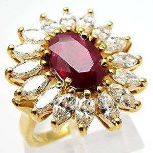 Vintage Estate Natural Ruby Diamond Ring Solid 18K Gold