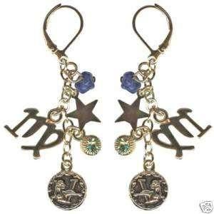 Kirsk Folly Crystal Star Gazer Earrings Virgo Zodiac