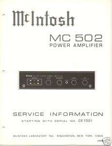 Original Service Manual McIntosh MC 502 Power Amp