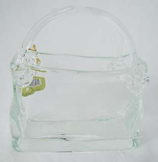 Clear ART Glass Vase / Bowl ~ Handbag or Womans Purse w/ Tags