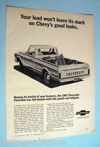 1967 Chevrolet Fleetside Pickup Truck 60s Print Ad