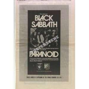 Black Sabbath Paranoid 1971 LP Promo Ad Poster Ozzy