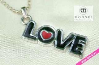 F50 Cute Black LOVE Charm Pendant Necklace (+Gift Box)