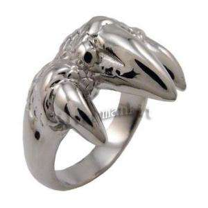Size 9 Men Silver Dragon Claw Stainless Steel Ring SR6
