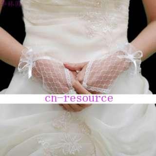 Ivory Wedding Proms Lace Fingerless bridal Gloves