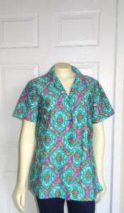 70s MLM Button Down Shirt Blue Green Pink Floral Paisley Too Cute