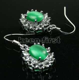 Fashion Jewelry Green Opal Dangle Earrings #752