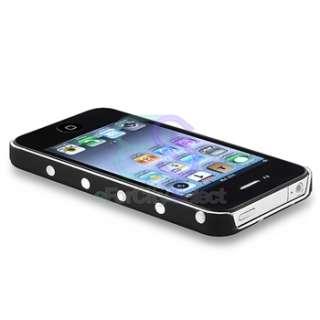BLACK HARD CASE WHITE POLKA DOT FOR iPhone 4 4S 4G