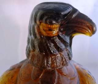 AMBER BROWN EAGLE BIRD GLASS WHISKY WHISKEY DECANTER BOTTLE