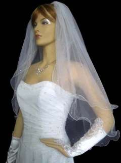 2t white / ivory wedding bridal veil Beads + comb