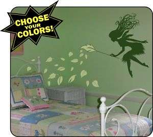 Whimsy Fairy and Blowing Leaves Vinyl Wall Decals Art