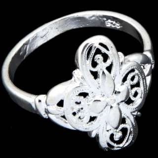 Stunning Silver Plated Hollow Flower Finger Ring SZ 8
