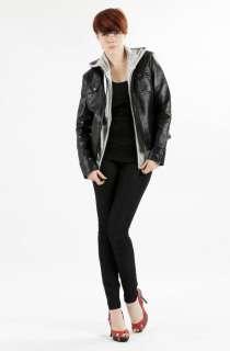 United Face Womens New Black Brown Lambskin Leather Moto Biker Jacket