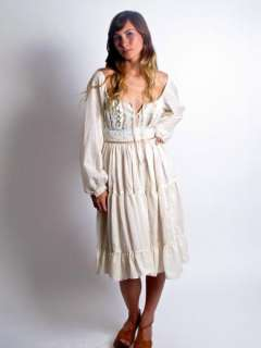 VTG 70S GUNNE SAX SHEER GUAZE GYPSY HIPPIE PRAIRE MINI DRESS BALLOON