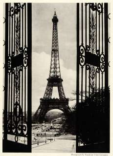 1921 Print Eiffel Tower Paris Trocadero Wrought Iron Gate Historic