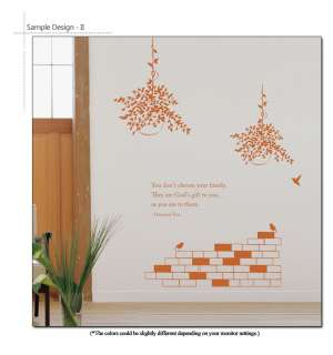 Family Quote & Flower Pot Large Size Wall Sticker Decal