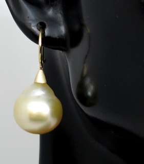 BIG NATURAL GOLDEN GENUINE BAROQUE SOUTH SEA PEARL & 14K GOLD EARRINGS