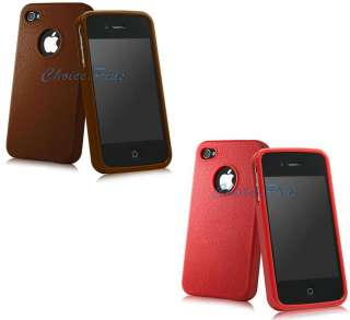 PREMIUM BROWN+RED LEATHER LOOK CASE COVER GEL BODY PROTECTOR APPLE
