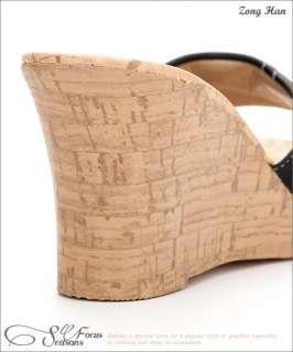 BN Womens Zipper Style High Heels Platform Wedge Sandals Black, Brown