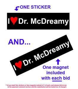 Dr. McDreamy PATRICK DEMPSEY Greys Anatomy ABC sticker