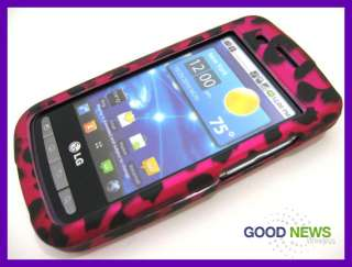 for Verizon LG Vortex VS660   Hot Pink Leopard Rubberized Hard Case