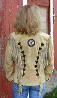 Womens Western Cowgirl Camel Suede Leather Fringe Show Jacket size M
