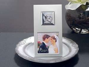 /Entwined Hearts Silver Tone Metal Photo Frame Wedding Favor Sample