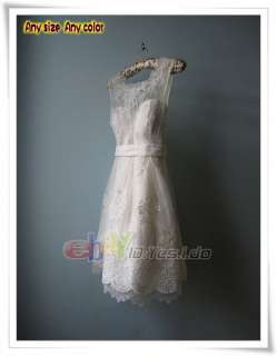 short sexy lace high neck white wedding dress/gown4  12 14 16