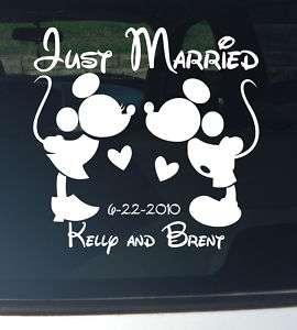 Mickey & Minnie Just Married Wedding Car Decal Vinyl