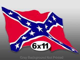 Large Waving Confederate Flag Sticker  decal rebel wave