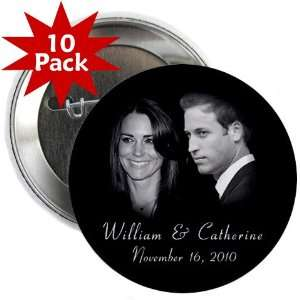 Prince William Kate Middleton Royal Engagement 10 Pack of 2.25 Pinback