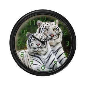 Twin White tigers Animals Wall Clock by CafePress Home