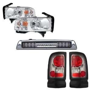 94 01 Dodge Ram Chrome LED Headlights /w Amber + LED 3RD Brake Light