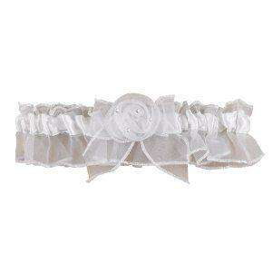 NEW White Chiffon Rose & Rhinestone Wedding Prom Garter