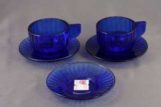 Vintage ALLEY AGATE Cobalt Blue Childs Toy Cup & Saucer
