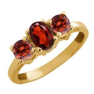 1.05 Ct Oval Red Garnet and Cognac Red Diamond 14k Yellow