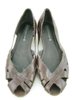 STEVE MADDEN Brown Leather Fashion Cork Wedges Sz 10