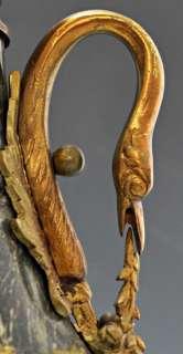 Amazing Pair (2) Antique French Dark Green Marble & Bronze Urns Goose