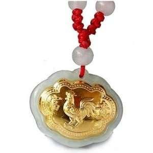 24K Gold Chinese Zodiac Rooster Genuine Jadeite Jade Pendant Necklace