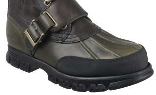 Polo by Ralph Lauren Mens Boots Varick Dark Brown Olive Smooth